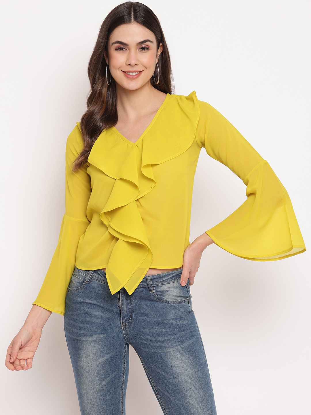 Mayra Women Yellow Bell Sleeves Georgette Fitted Top
