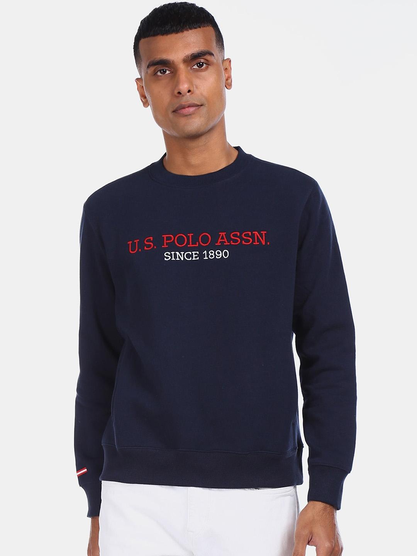 U.S. Polo Assn. Men Blue Printed Sweatshirt