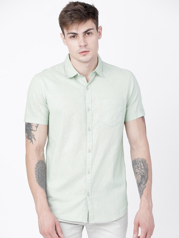 HIGHLANDER Men Green Slim Fit Solid Casual Shirt