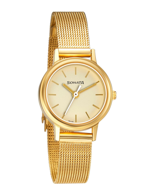 Sonata Women Gold Toned Analogue Watch 8096YM08