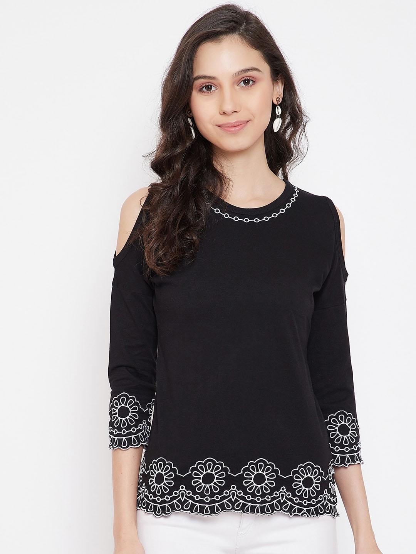 Hypernation Women Black Solid Round Neck T shirt