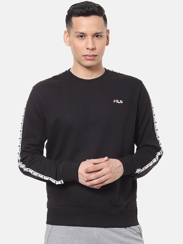 FILA Men Black Solid Sweatshirt