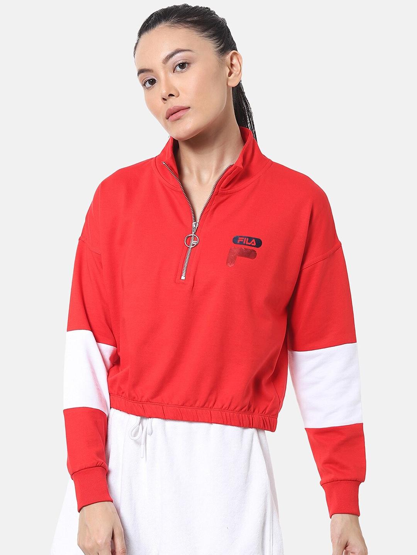 FILA Women Red Solid Sweatshirt
