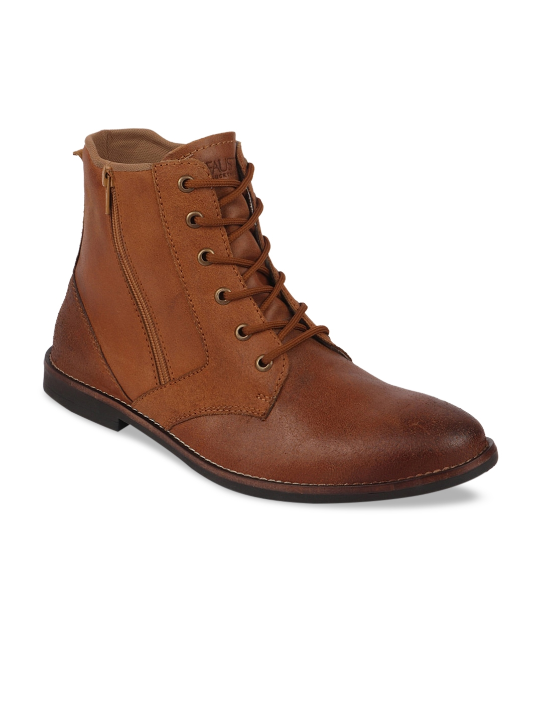 FAUSTO Men Leather Flat Boots Casual Shoes