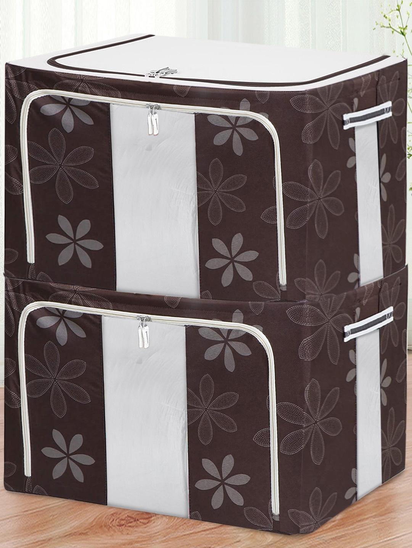 BlushBees Set Of 2 Brown   White Printed Wardrobe Storage Boxes