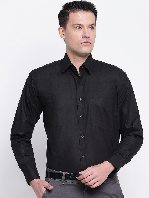 Hancock Men Black Regular Fit Solid Formal Shirt
