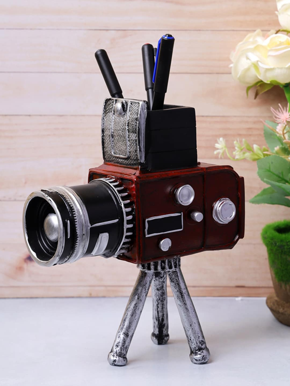 A Vintage Affair  Home Decor Red   Silver Coloured Vintage Tripod Camera Tabletop Accent Showpiece
