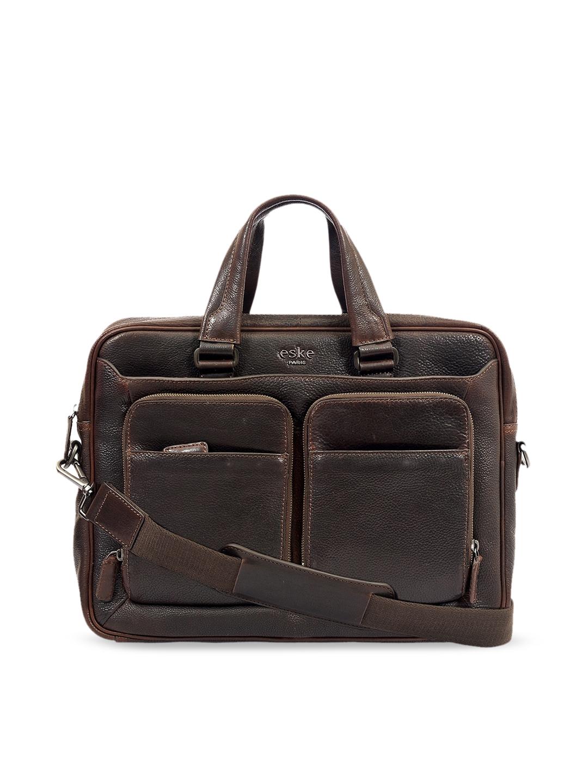 Eske Men Brown Textured 15 Inch Leather Laptop Bag
