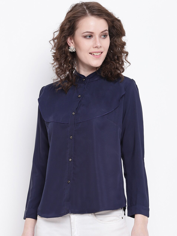 Mayra Women Navy Blue Regular Fit Solid Casual Shirt