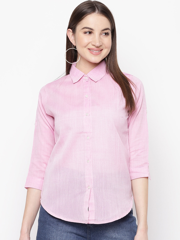 Mayra Women Pink Regular Fit Solid Casual Shirt