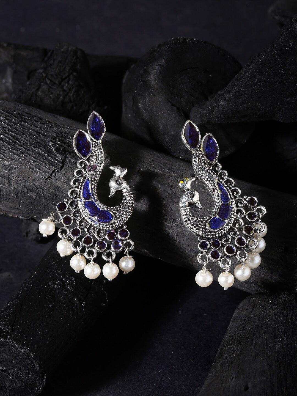 OOMPH Blue Oxidised German Silver Meenakari Peacock Shaped Drop Earrings