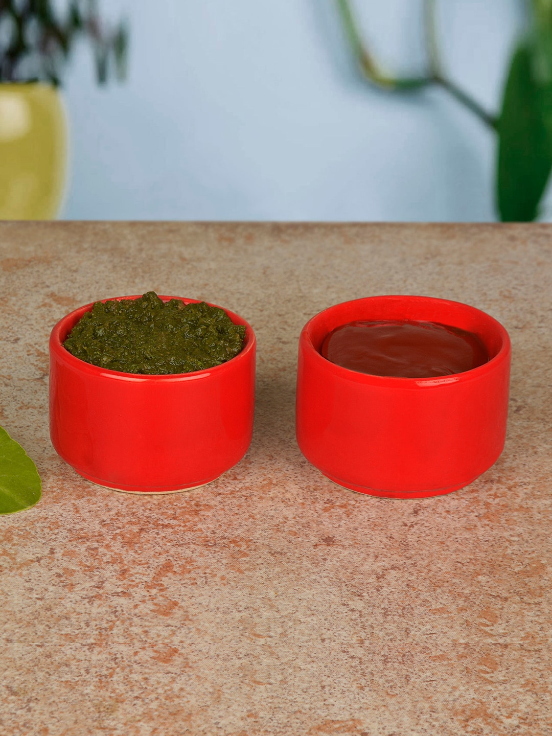 StyleMyWay Set Of 2 Red Solid Ceramic Dip Bowls