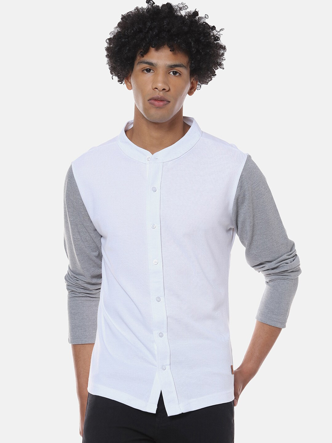 Campus Sutra Men White Regular Fit Solid Casual Shirt
