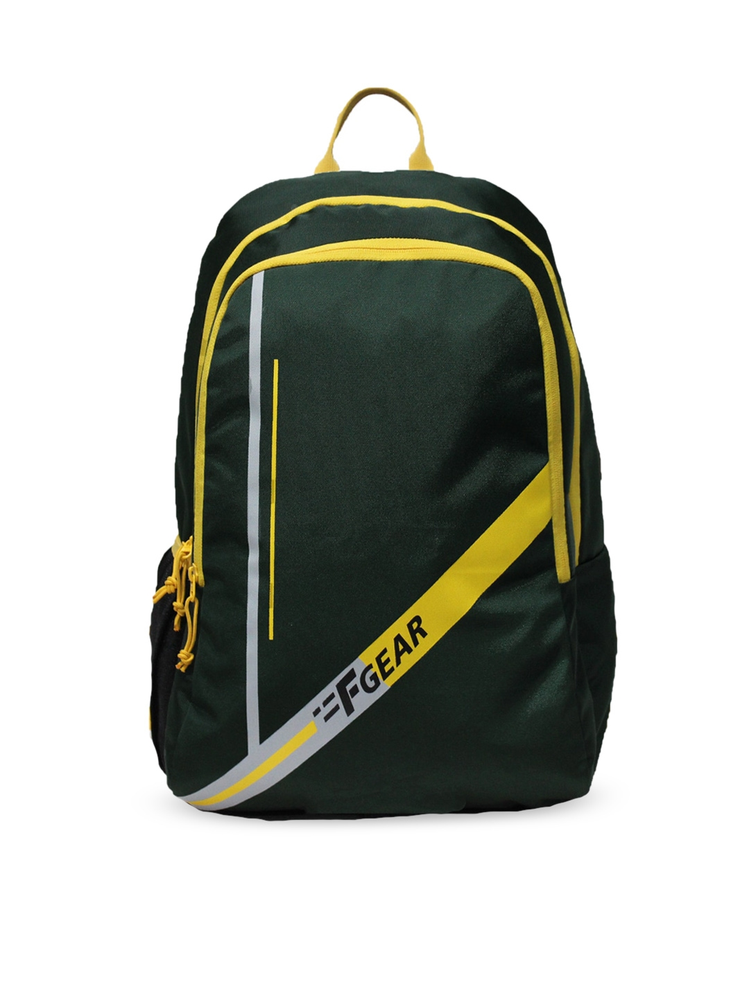 F Gear Unisex Green   Yellow Brand Logo Contrast Detail Backpacks