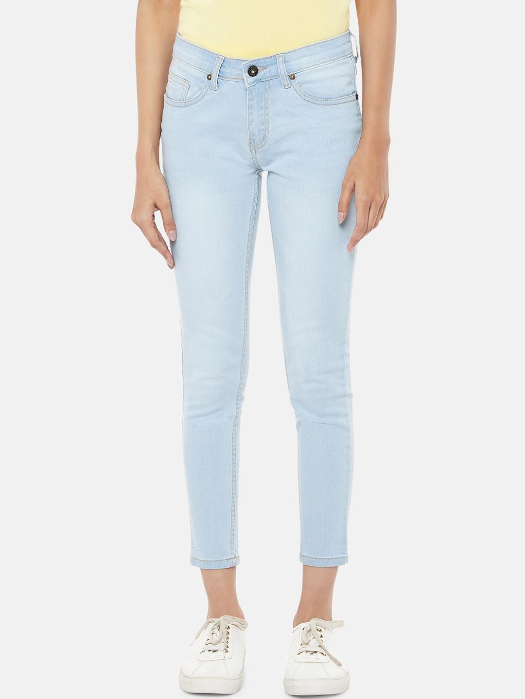 People Women Light Blue Regular Fit Jeans