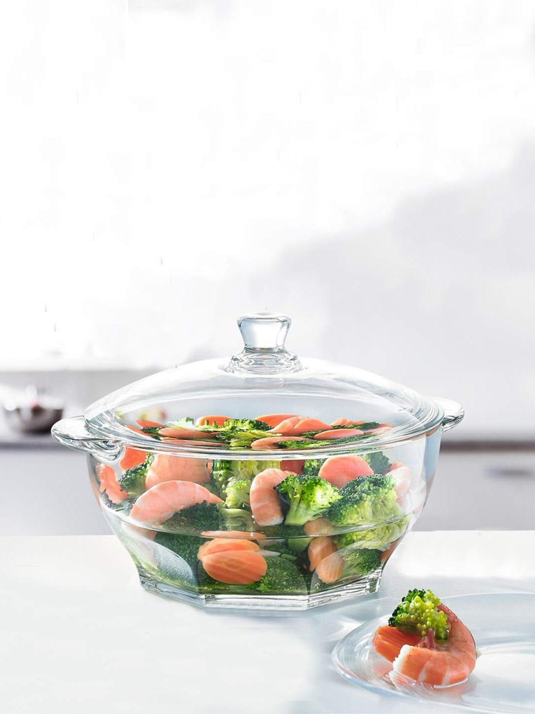 INCRIZMA Transparent Solid Tempered Glass Casserole with Lid