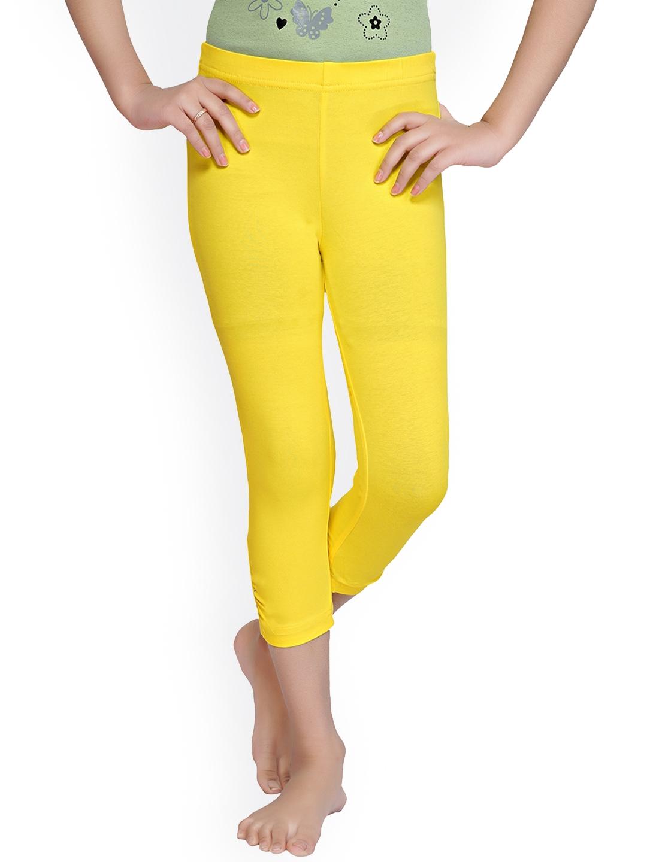Tiny Girl Girls Yellow Solid Three Fourth Cotton Leggings