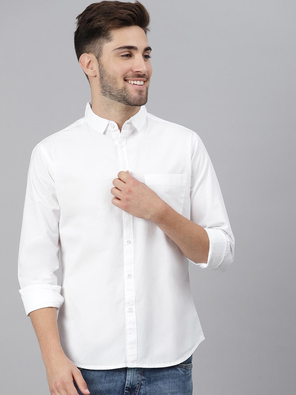 Dennis Lingo Men White Slim Fit Solid Casual Shirt