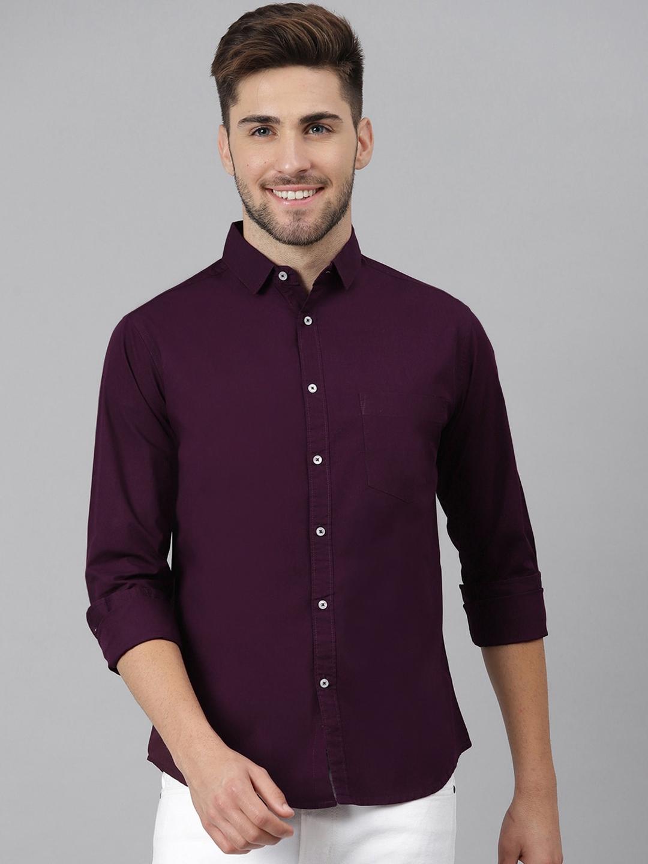 Dennis Lingo Men Purple Slim Fit Solid Casual Shirt