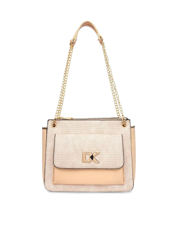 Diana Korr Pink   Beige Textured Shoulder Bag