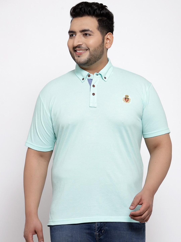 plusS Men Plus Size Blue Solid Round Neck T shirt