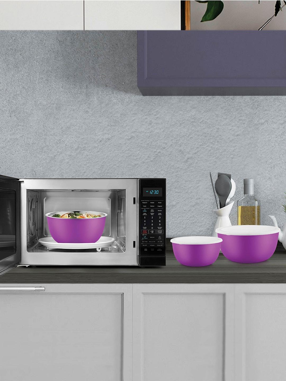 Jensons Set of 3 Purple Flora Stainless Steel Microwave Safe Bowl Set