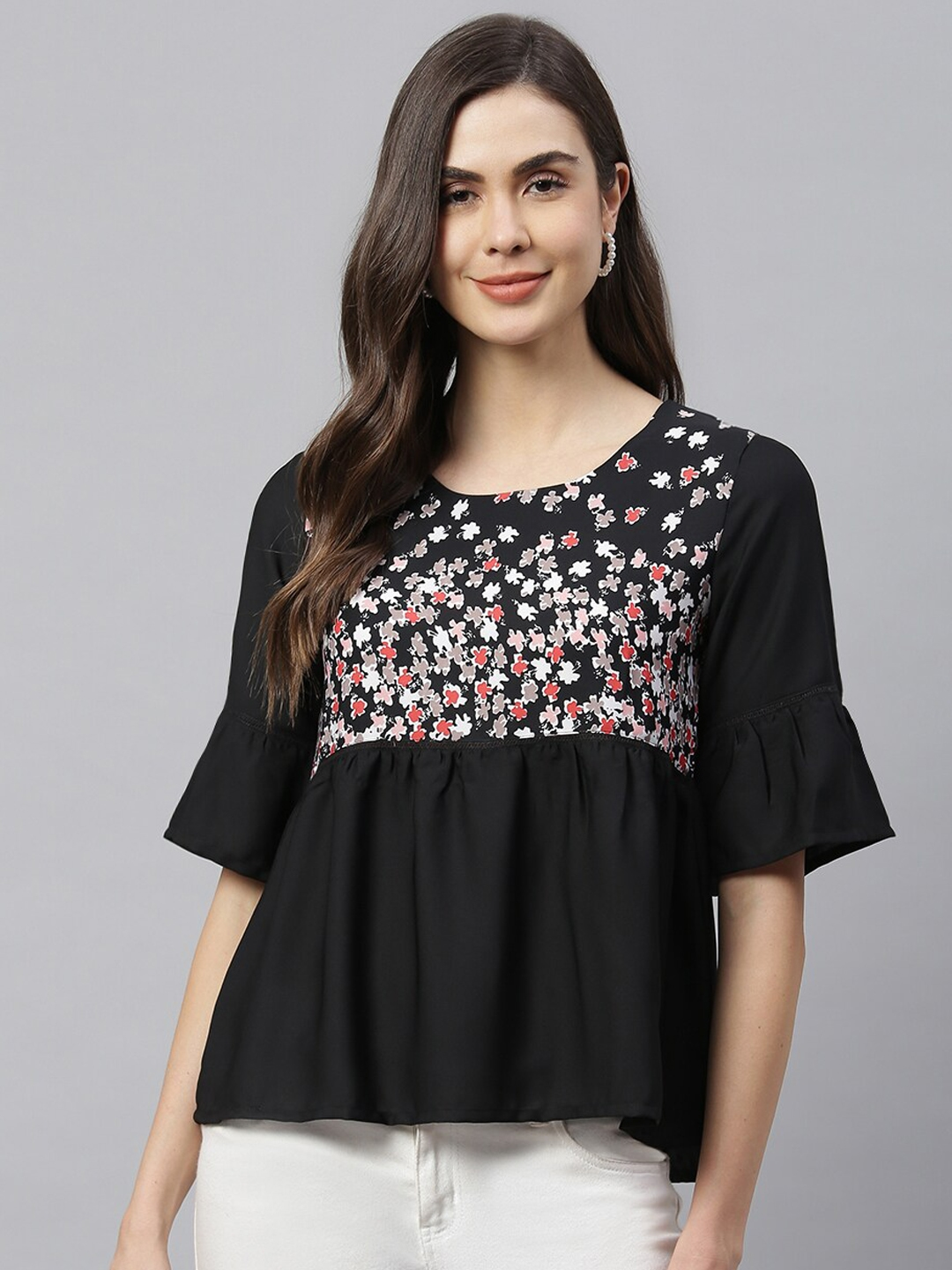 HK colours of fashion Black   White Floral Print Bell Sleeves Top