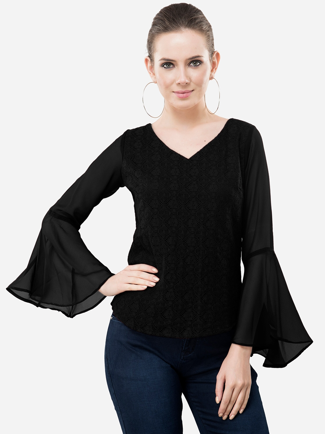 V M Black Bell Sleeves Pure Cotton Lace A Line Top