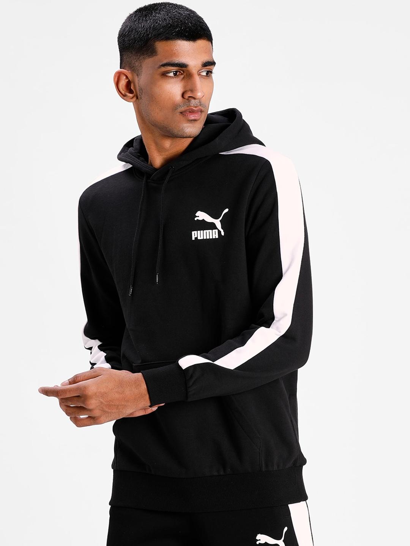 Puma Men Black Solid T7 Full Zip Fleece Hoodie Sweatshirt