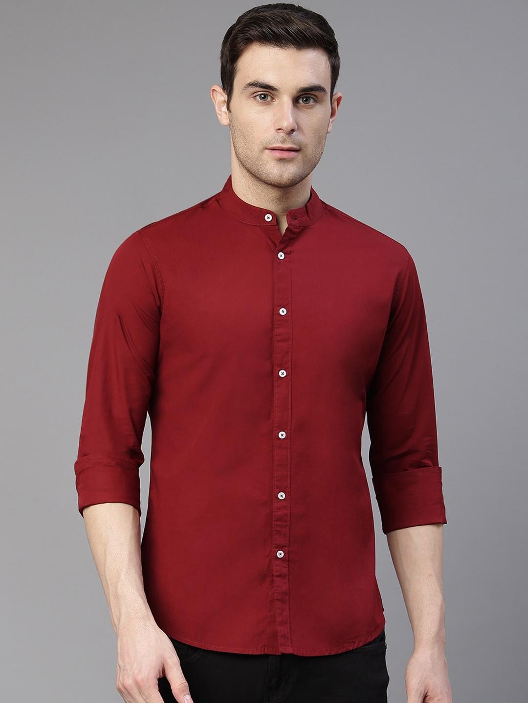 Dennis Lingo Men Maroon Comfort Slim Fit Solid Pure Cotton Casual Shirt
