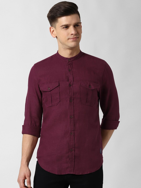 Peter England Casuals Men Maroon Slim Fit Solid Linen Casual Shirt