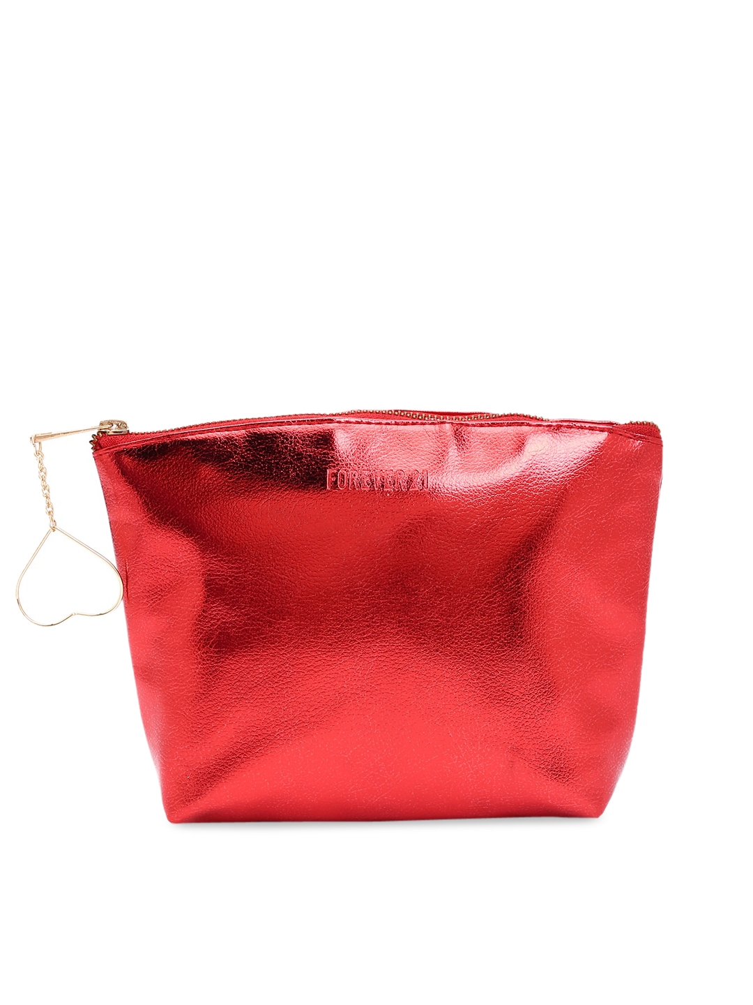 FOREVER 21 Women Red Solid Cosmetic Pouch