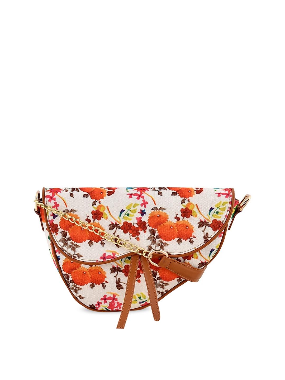 Lychee bags White   Orange Printed Sling Bag