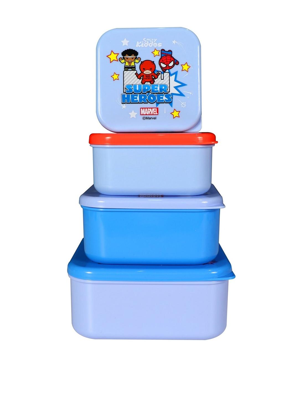 Smily Kiddos Kids Set Of 4 In 1 Marvel Avengers Printed Lunch Box