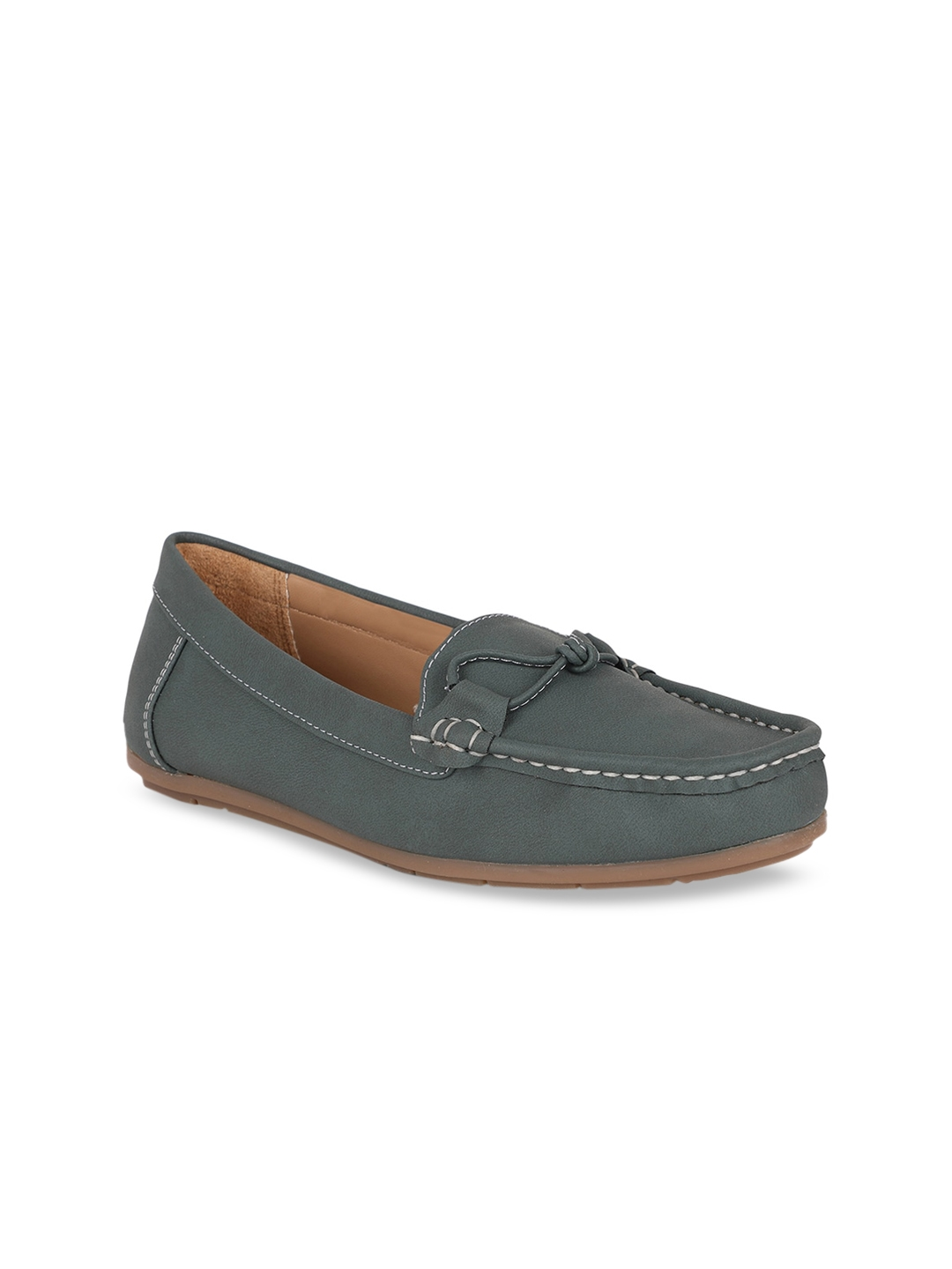 Bata Women Grey Loafers Casual Shoes