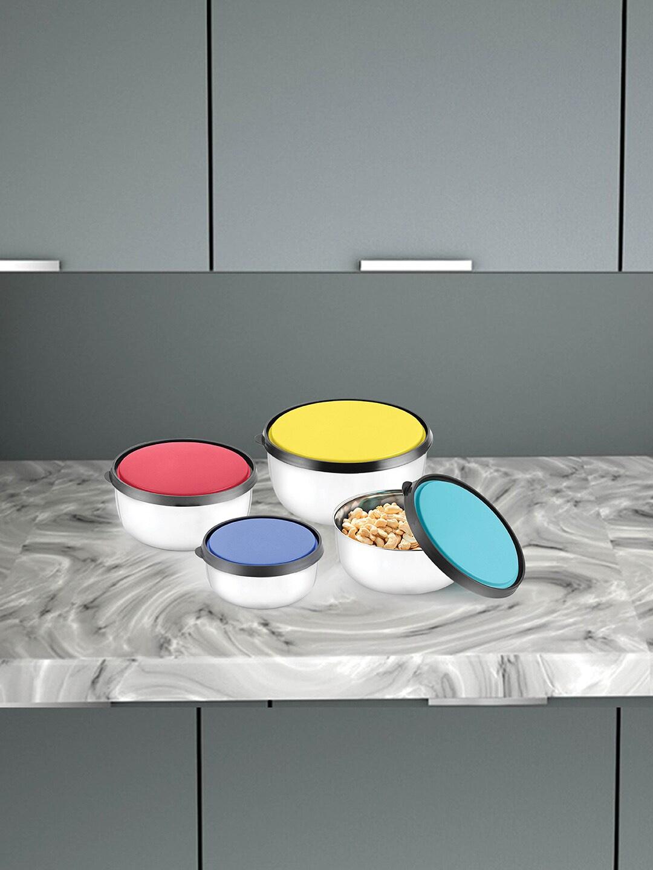 Jensons Set Of 4 Fresca Dishwasher   Microwave Safe Stainless Steel Storage Bowls