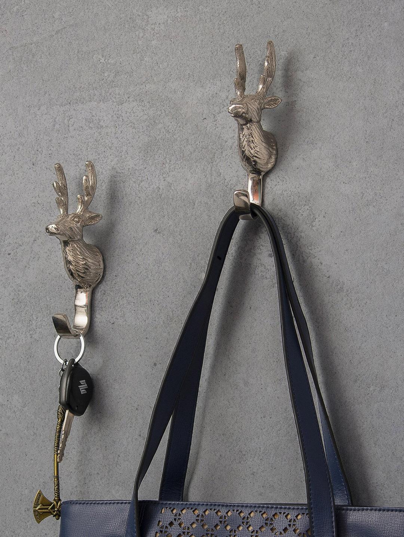 Homesake Set Of 2 Silver Handmade Deer Head Wall Hook