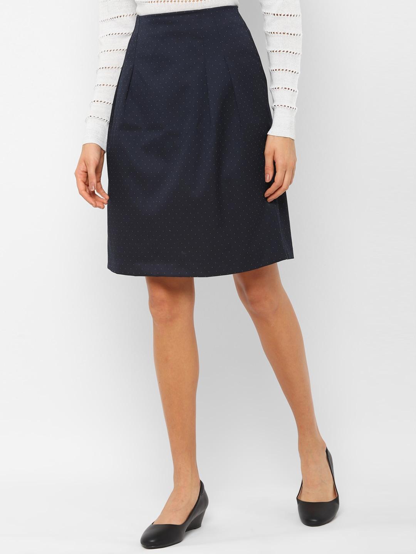 Allen Solly Woman Women Navy Blue Printed A Line Skirt
