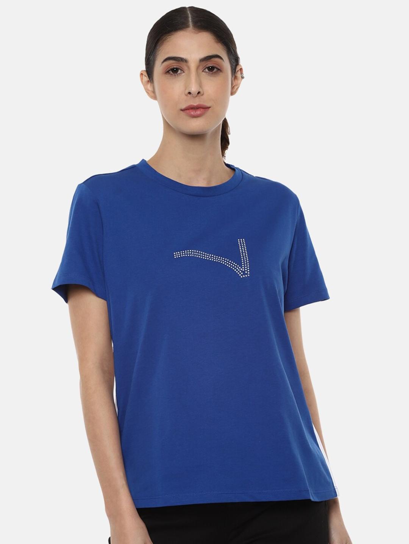 Van Heusen Woman Blue Solid Round Neck T shirt