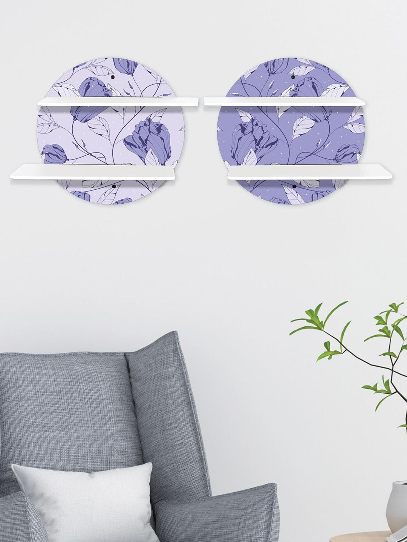 RANDOM Set Of 2 White   Lavender MDF Basic Wall Shelf