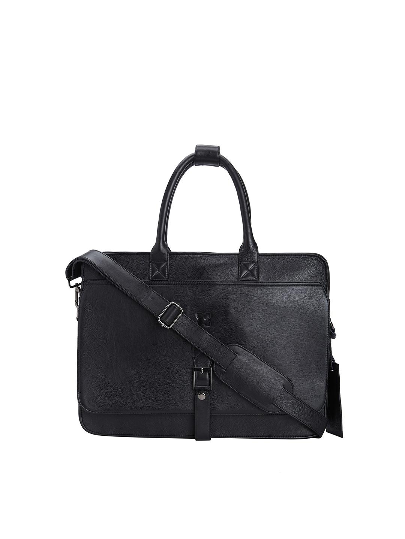 MERECER MELHOR Unisex Black Solid 16 Inch Leather Laptop Bag
