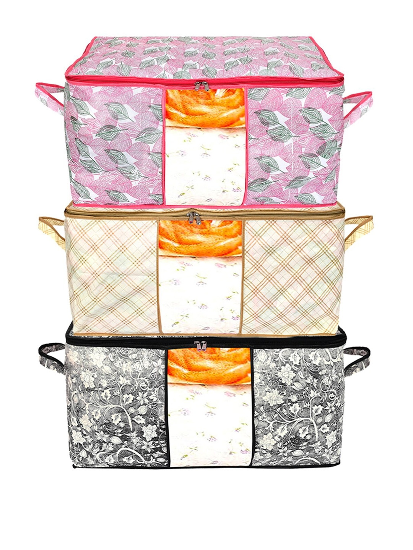 Kuber Industries Set Of 3 Printed Saree Covers