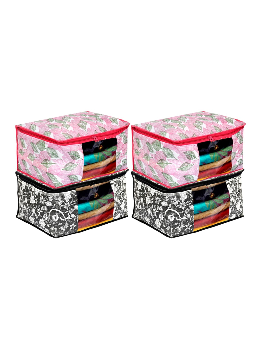 Kuber Industries Set Of 4 Printed Saree Covers/Clothes Organiser