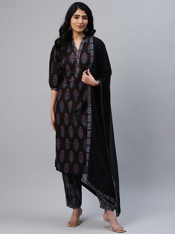 Libas Women Black   Blue Printed Cotton Kurta with Salwar   Dupatta