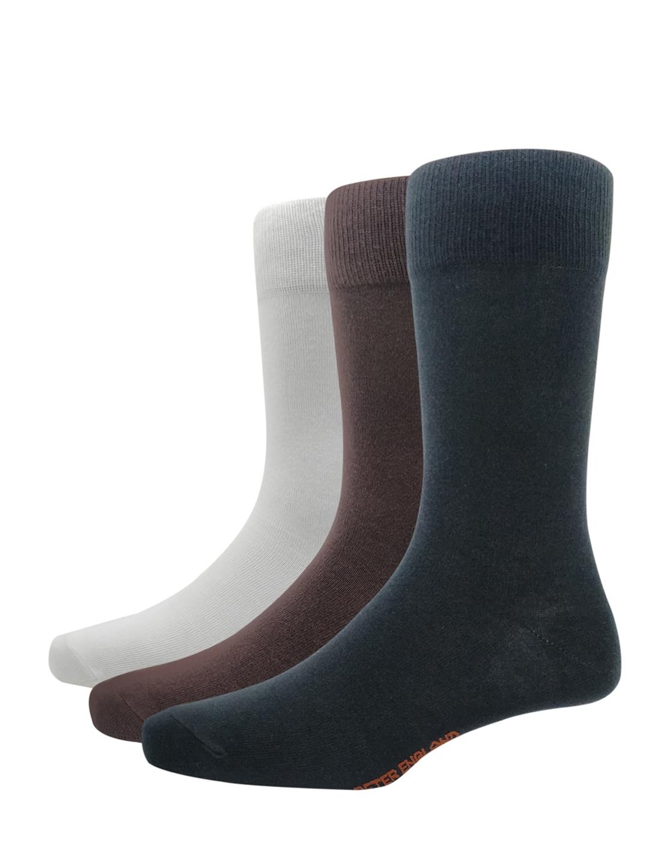 Peter England Men Pack Of 3 Solid Calf Length Socks