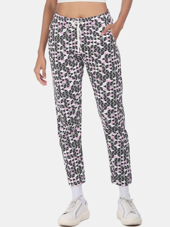 Sugr Women Black   Pink Printed Track Pants