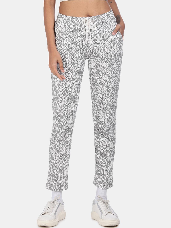 Sugr Women White   Grey Printed Track Pants