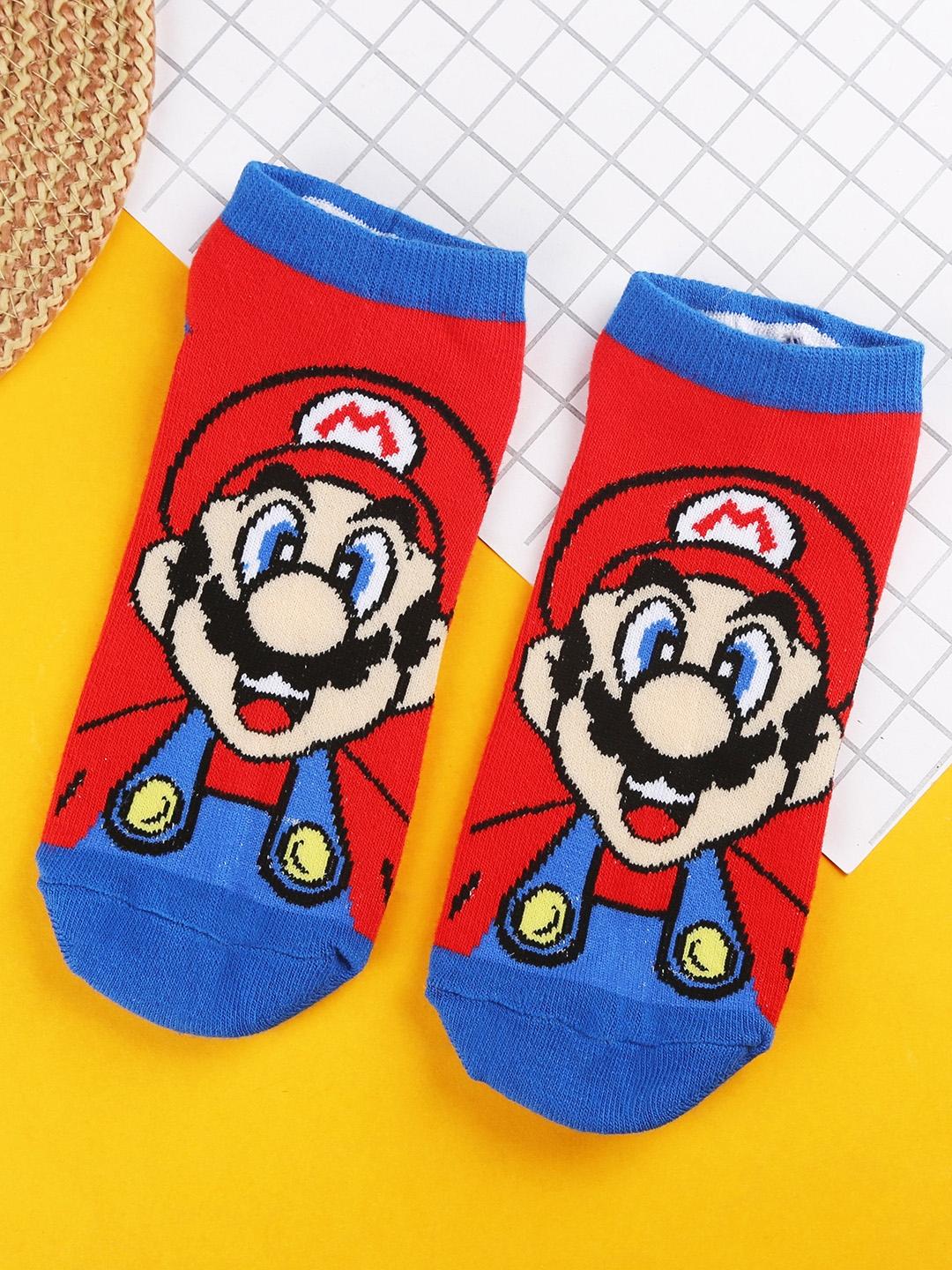 Bigsmall Unisex Red   Blue Super Mario Patterned Ankle Length Socks