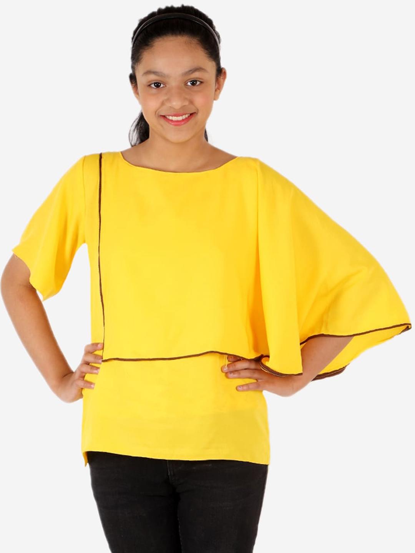 YK Girls Yellow Solid Cap Sleeve Regular Party Top