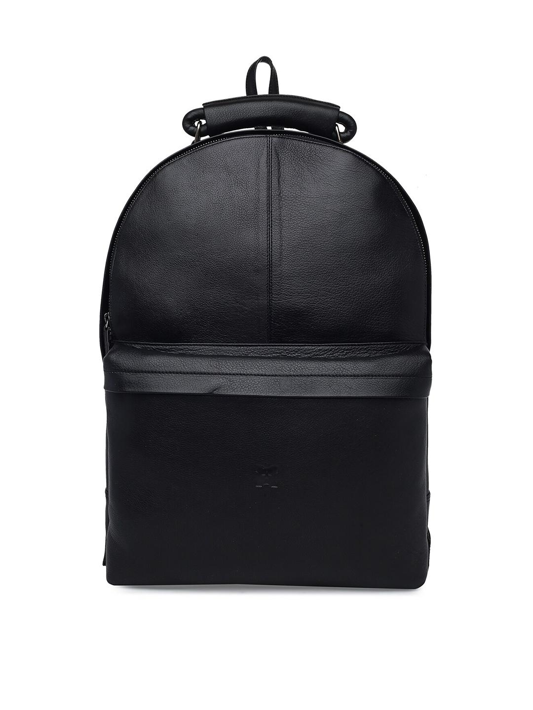 MERECER MELHOR Unisex Black Leather 16 inch Laptop Backpack